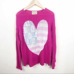 WILDFOX WHITE LABEL • USA heart billy sweater pink